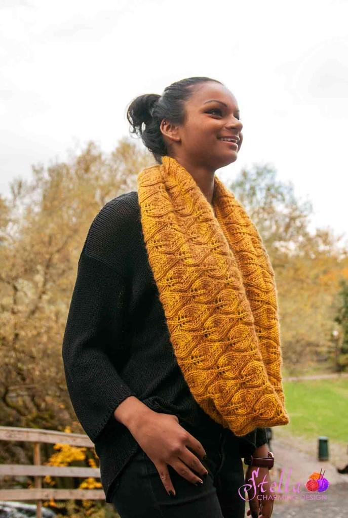 Halsen Shignik med vakkert bladmønster.