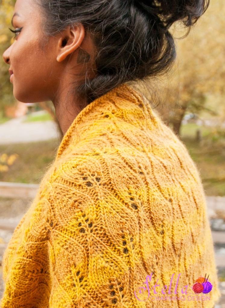 Halsen Shignik. Garnet, fargen på garnet, og det vakre høstløvet var inspirasjonen til dette designet.