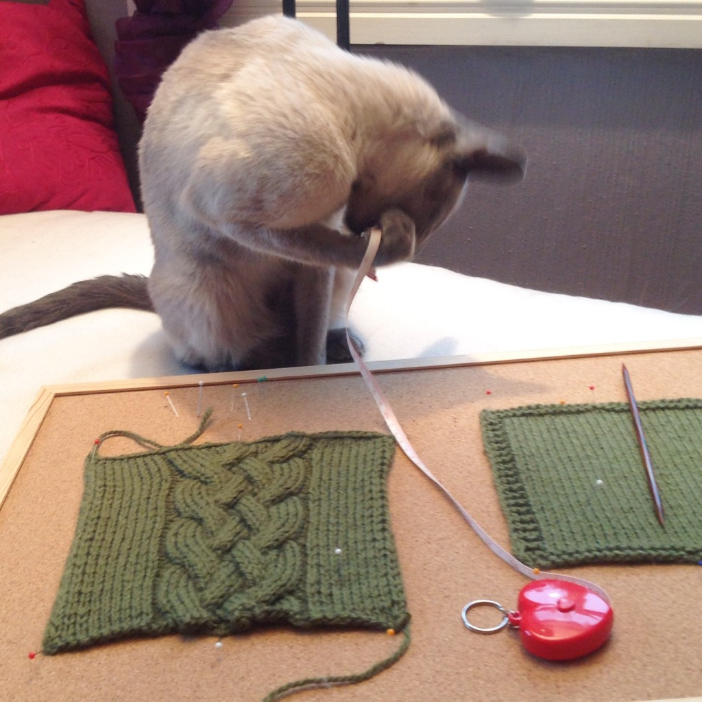 Torres og jeg måler strikkefastheten på glattstrikk og flette.