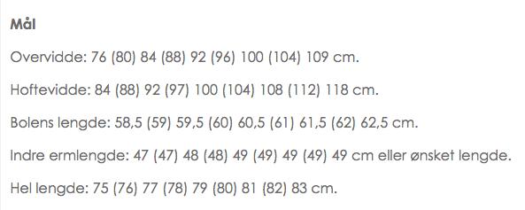 Dette er målene til Skognymfe. Her er det oppgitt både et hoftemål og en overvidde, altså har dette plagget en svak A-fasong. Hvor mye det skrår fra hofte til bryst ser du ved å studere tallene.